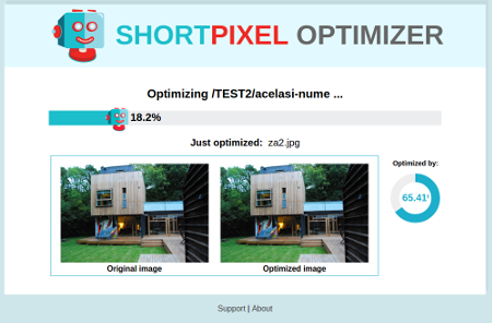 ShortPixel Web Optimizer - displaying progress.